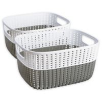Simplify Small Sailor's Knot Storage Bins in Grey (Set of 2)