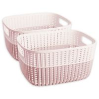 Simplify Small Sailor's Knot Storage Bins in Pink (Set of 2)