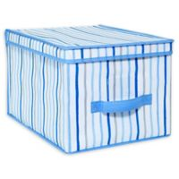 Laura Ashley Kids Large Collapsible Storage Box in Painterly Blue Stripe