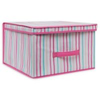 Laura Ashley Kids Jumbo Collapsible Storage Box in Painterly Pink Stripe