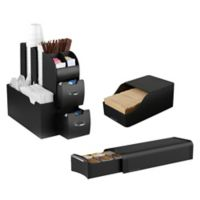 Mind Reader Coffee Condiment Holder with Pod Drawer and Sleeve Dispenser in Black