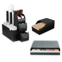 Mind Reader Coffee Condiment Organizer with Pod Drawer and Sleeve Dispenser in Black