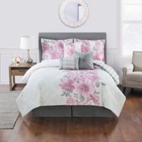 Charlize 7-Piece King Comforter Set in Pink