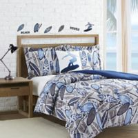 Surf Waves 3-Piece Reversible Twin Comforter Set in Light Grey