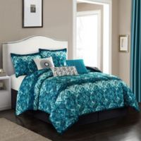 Batique 7-Piece Queen Comforter Set in Indigo Blue