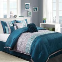 Juliana 7-Piece King Comforter Set in Teal