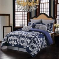 Dolce 10-Piece Reversible King Comforter Set in Silver/Navy