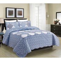 Isabella Floral and Plaid Patchwork Twin Quilt Set in Blue
