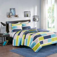 Mi Zone Bradley Colorblock Printed Coverlet Twin/Twin XL Bedding Set