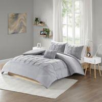 Intelligent Design Casey Jersey Tufted 3-Piece Twin XL Duvet Cover Set in Grey