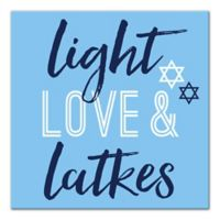 "Designs Direct ""Light, Love and Latkes"" 16-Inch Square Canvas Wall Art"
