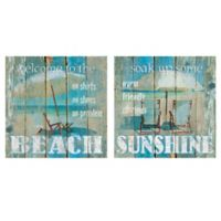 Beach & Sunshine 12-Inch Square Canvas Wall Art (Set of 2)
