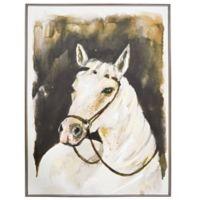 White Stallion Framed Canvas Wall Art