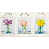 Floral Tapestry 19.5-Inch x 15-Inch Wood Wall Art (Set of 3)