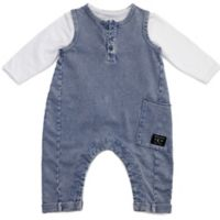 Kidding Around Newborn 3-Piece Denim Overall, Henley Shirt, and Bandana Bib Set