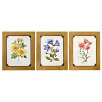 Floral Wood with Screws Wall Art (Set of 3)