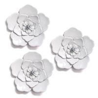 Metal Wall Flowers in White (Set of 3)