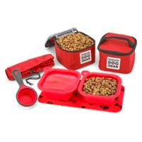 Overland Small Dog Gear 7-Piece Dine Away Bag in Red