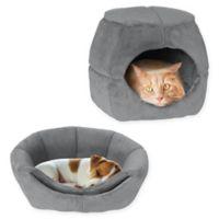 PETMAKER 2-in-1 Convertible Pet Bed in Light Grey