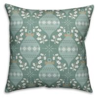 Designs Direct Christmas Ornament Square Throw Pillow in Green