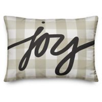 "Designs Direct ""Joy"" Oblong Throw Pillow in Beige Plaid"