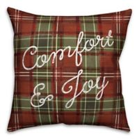 "Designs Direct ""Comfort & Joy"" Square Throw Pillow in Red"