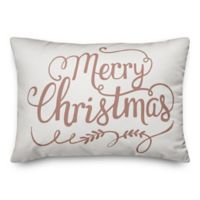 """Designs Direct """"Merry Christmas"""" Oblong Throw Pillow in Pink"""