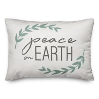 "Designs Direct ""Peace on Earth"" Oblong Throw Pillow in Green"