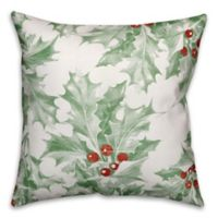 Designs Direct Holly Leaves Square Throw Pillow in Green