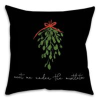 Designs Direct Under the Mistletoe Square Throw Pillow in Black