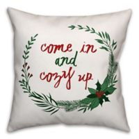 "Designs Direct ""Come in and Cozy Up"" Square Throw Pillow in Green"