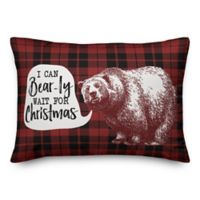 "Designs Direct ""I Can Bearly Wait for Christmas"" Oblong Throw Pillow in Red"