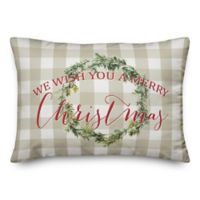 "Designs Direct ""We Wish You a Merry Christmas"" Oblong Throw Pillow in Tan"