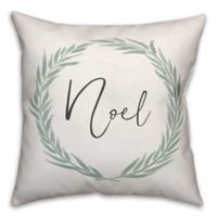"Designs Direct ""Noel"" Wreath Square Throw Pillow in Green/White"