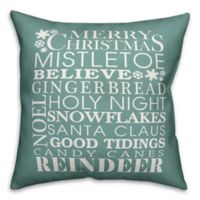 Designs Direct Christmas Sayings Square Throw Pillow in Green