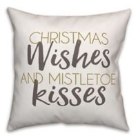 "Designs Direct ""Christmas Wishes and Mistletoe Kisses"" Square Throw Pillow"