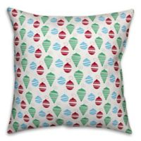 Designs Direct Colorful Christmas Ornaments Square Throw Pillow in Green