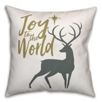 """Designs Direct """"Joy to the World"""" Square Throw Pillow in Grey"""