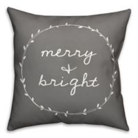 """Designs Direct """"Merry & Bright"""" Square Throw Pillow in Grey"""