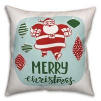 Designs Direct Merry Christmas Santa Square Throw Pillow in Red