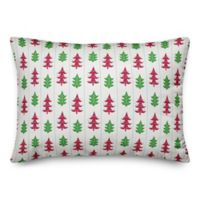 Designs Direct Festive Funky Trees Square Throw Pillow in Red