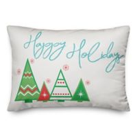 """Designs Direct """"Happy Holidays"""" Trees Square Throw Pillow in Green"""