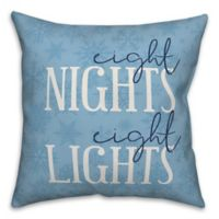 "Designs Direct ""Eight Nights Eight Lights"" Square Throw Pillow in Blue"