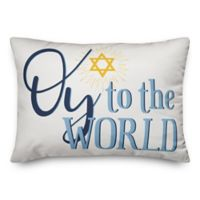 """Designs Direct """"Oy To The World"""" Oblong Throw Pillow in Blue"""