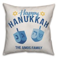 Designs Direct Hanukkah Dreidel Square Throw Pillow in Blue
