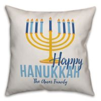 Designs Direct Hanukkah Menorah Square Throw Pillow in Blue