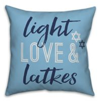 "Designs Direct ""Light Love & Latkes"" Square Throw Pillow in Blue"