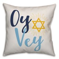 """Designs Direct """"Oy Vey"""" Square Throw Pillow in Blue"""