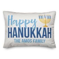 Designs Direct Hanukkah Menorah Oblong Square Throw Pillow in Blue