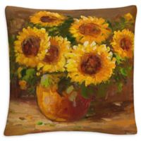 Sunflower Still Life Square Throw Pillow in Yellow